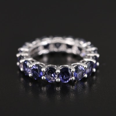 Sterling Iolite Eternity Band