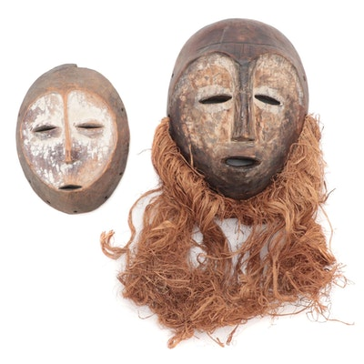 Lega Style Carved Wood Masks, Central Africa