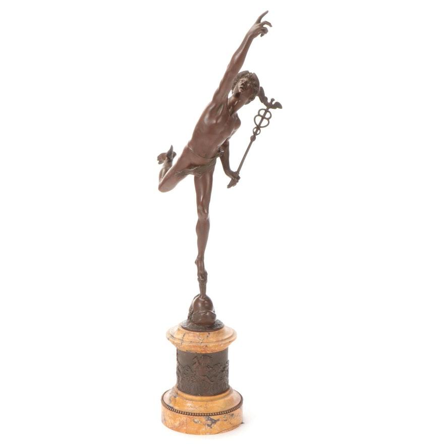 """Brass Sculpture after Giambologna """"Mercury"""""""