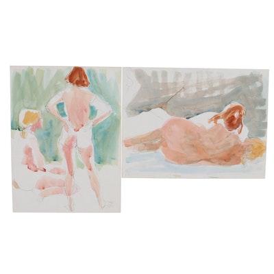 John Tuska Figural Nude Watercolor Paintings, Late 20th Century