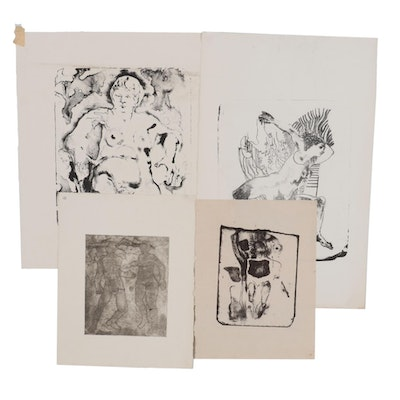 John Tuska Figural Stone Lithographs and Etching, Late 20th Century