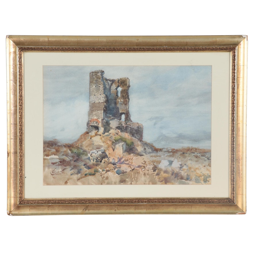 Onorato Carlandi Landscape Watercolor Painting of Castle Ruins