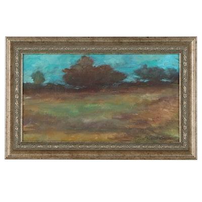 """Robert Riddle Baker Landscape Acrylic Painting """"Ohio Daybreak,"""" 2021"""
