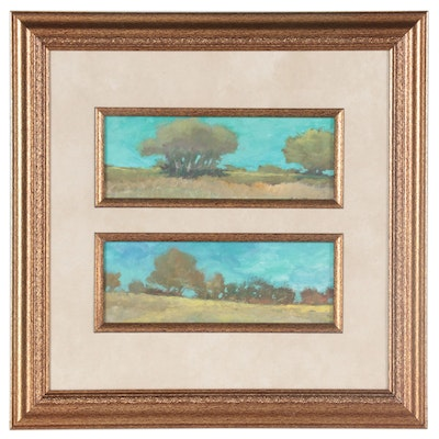 """Robert Riddle Baker Landscape Acrylic Painting """"Two Ohio Views,"""" 2021"""