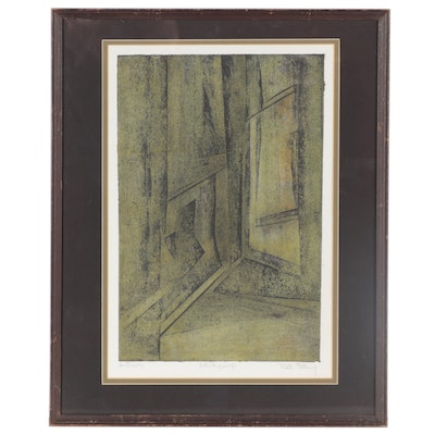 """Ruth Ettling Abstract Woodcut """"Interior,"""" Mid-Late 20th Century"""