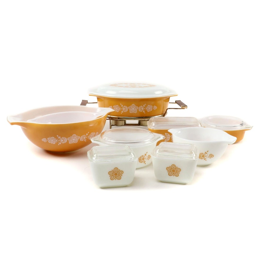 """Pyrex """"Butterfly Gold"""" Glass Mixing Bowls, Bakeware, and More, 1972–1981"""