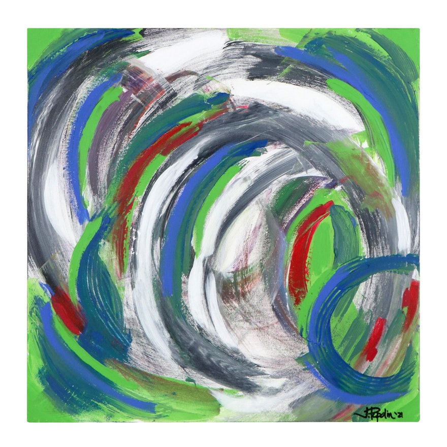 """J. Popolin Abstract Acrylic Painting """"Swirling Dervish,"""" 2021"""
