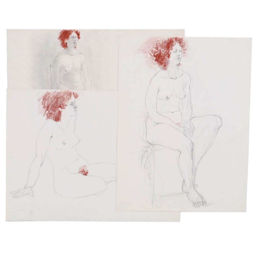 John Tuska Graphite and Conté Crayon Figural Drawings, Mid to Late 20th Century