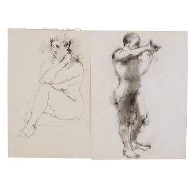 John Tuska Figural Ink Wash Drawings, Mid to Late 20th Century