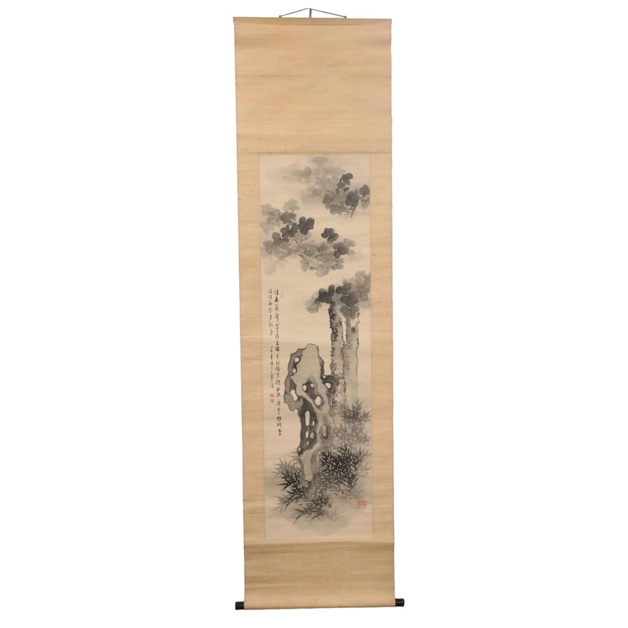 Chinese Watercolor Scroll of Trees and Insects, Qing Dynasty