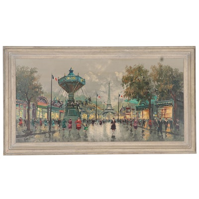 Parisian Street Scene Oil Painting, Mid-20th Century