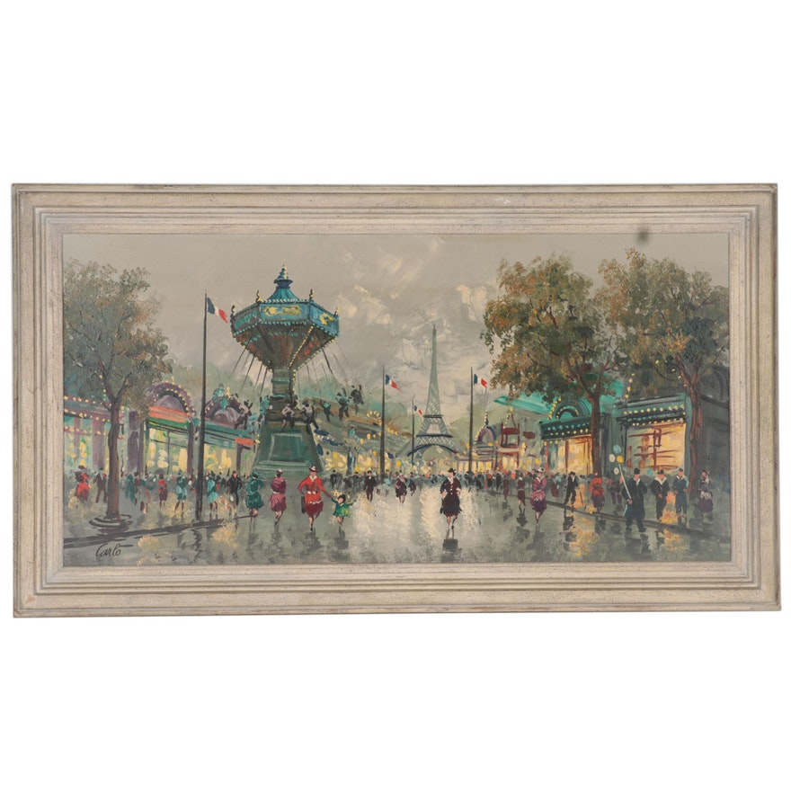 Parisian Street Scene Oil Painting, Mid-20th Century