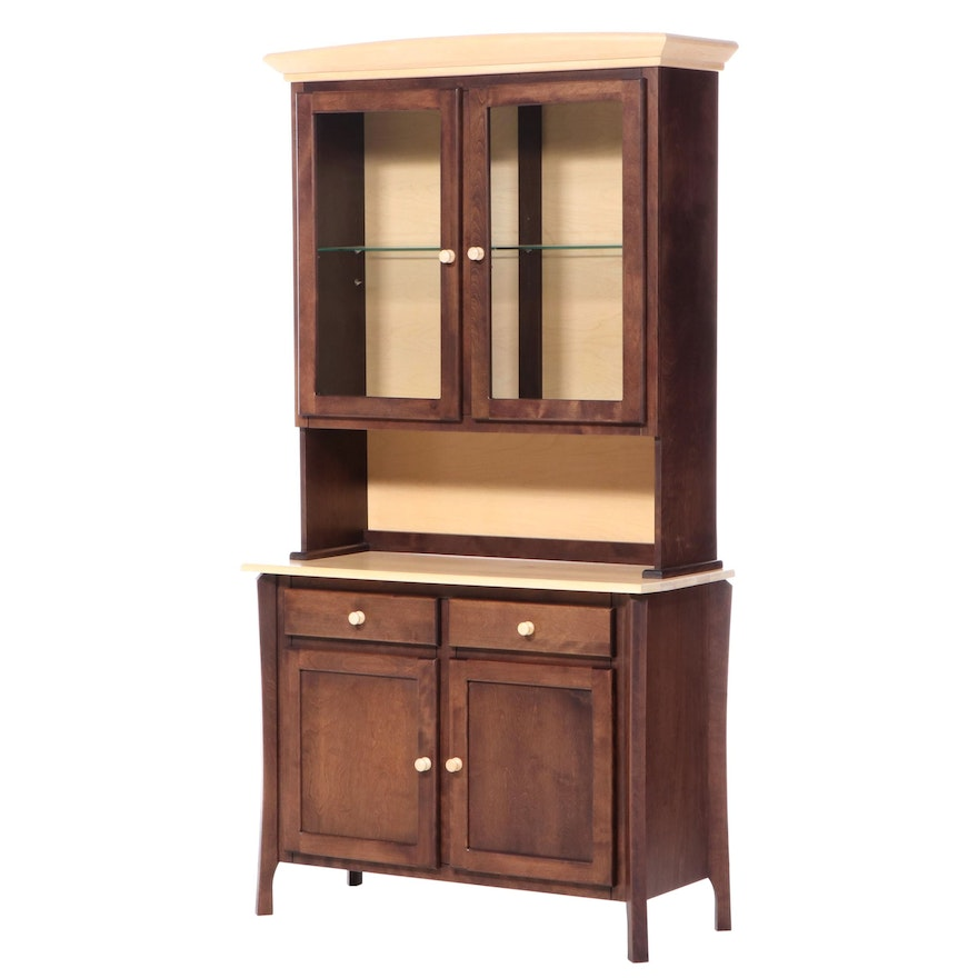 Canadel Primitive Style Parcel-Stained Stepback China Cabinet