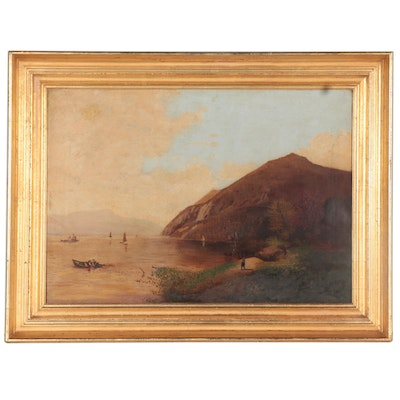 Hudson River School Style Landscape Oil Painting, circa 1900
