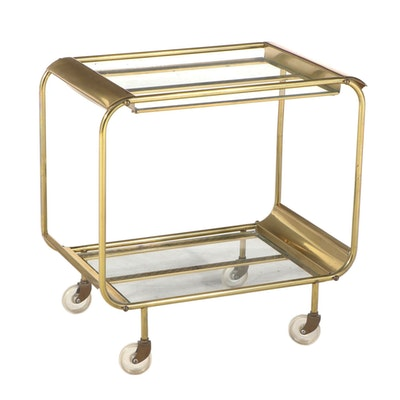Mid Century Modern Brass and Glass Two-Tier Serving Cart