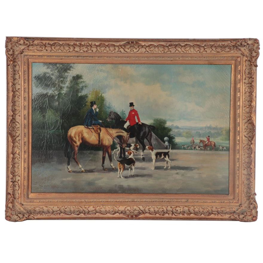 Troy Berke Hunting Genre Oil Painting, Late 20th Century