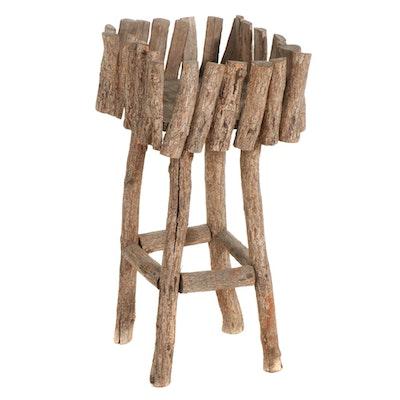 Folk Art Log Plant Stand