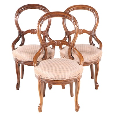 Three American Rococo Revival Rosewood-Grained Walnut Side Chairs, 19th C.