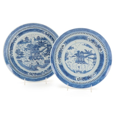 Chinese Export Canton Blue and White Porcelain Plates, Early to Mid 19th Century