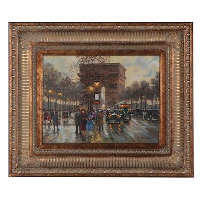 Sandi Lebrón Parisian Street Scene Oil Painting, circa 2000