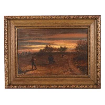 "C. E. Johnson Landscape Oil Painting ""Homewards,"" Late 19th Century"