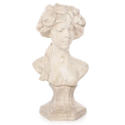 Art Nouveau Style Cast Plaster Bust, 20th century