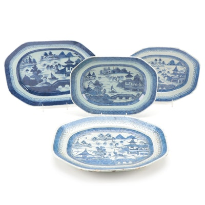 Chinese Export Canton Platters, Early to Mid 19th Century