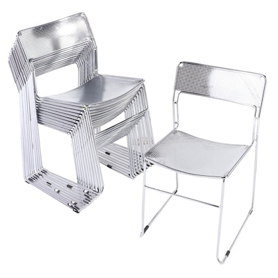 Contemporary Modern Chrome Metal Mesh Stacking Side Chairs