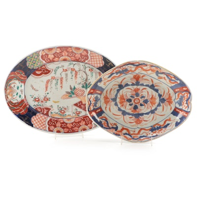 Japanese Meiji Period Imari Porcelain Dish and Oval Platter, ca. 1870-80
