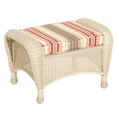 Resin Wicker Patio Ottoman with Striped Cushion