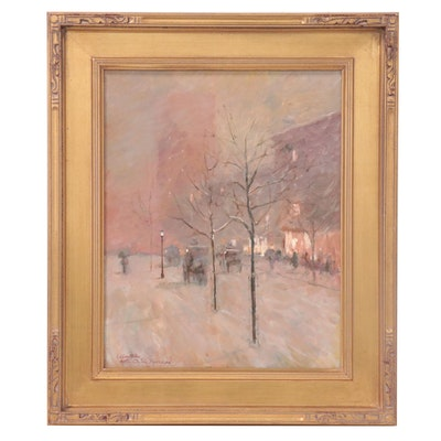 "Oil Painting after Childe Hassam ""Late Afternoon Winter,"" Circa 2000"