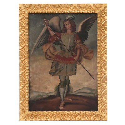 Cuzco School Style Oil Painting of Archangel Eliel with Harquebus, 20th Century