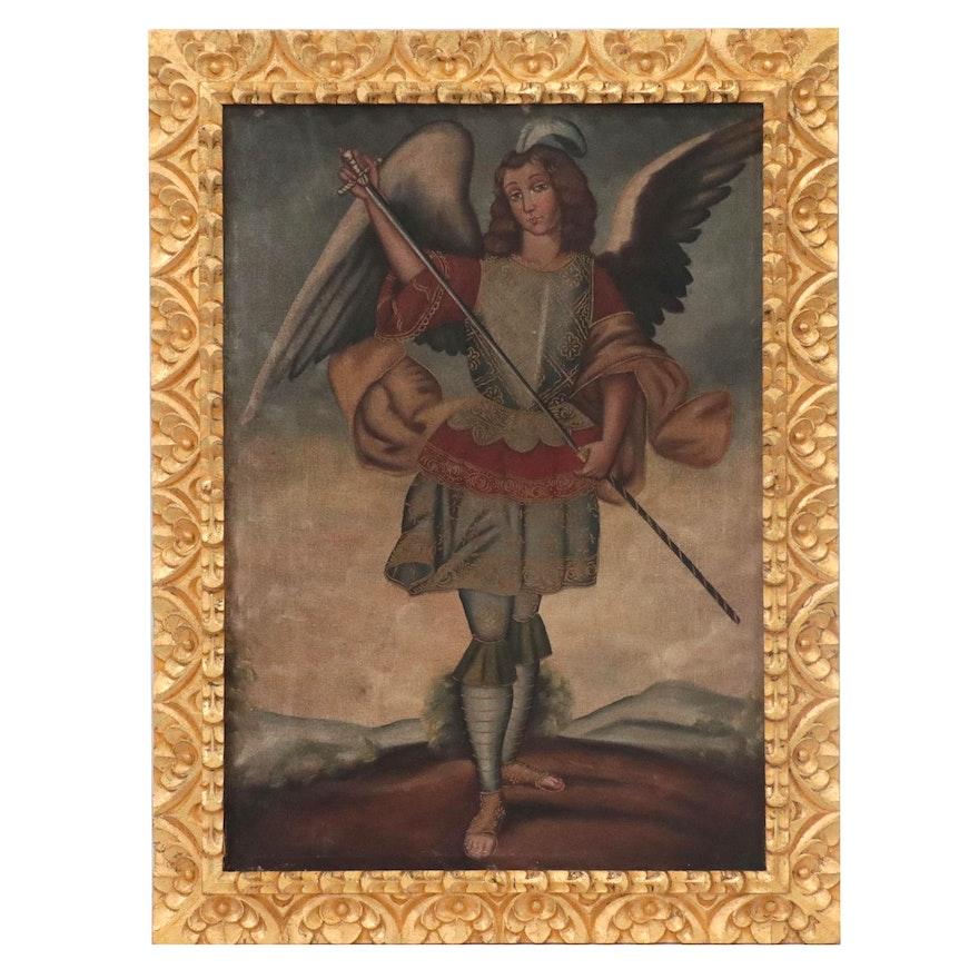 Cuzco School Style Oil Painting of Archangel Eliel with Harquebus, 20th Century