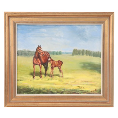 Lionel LeFebvre Oil Painting of Mother Horse and Colt, 1982