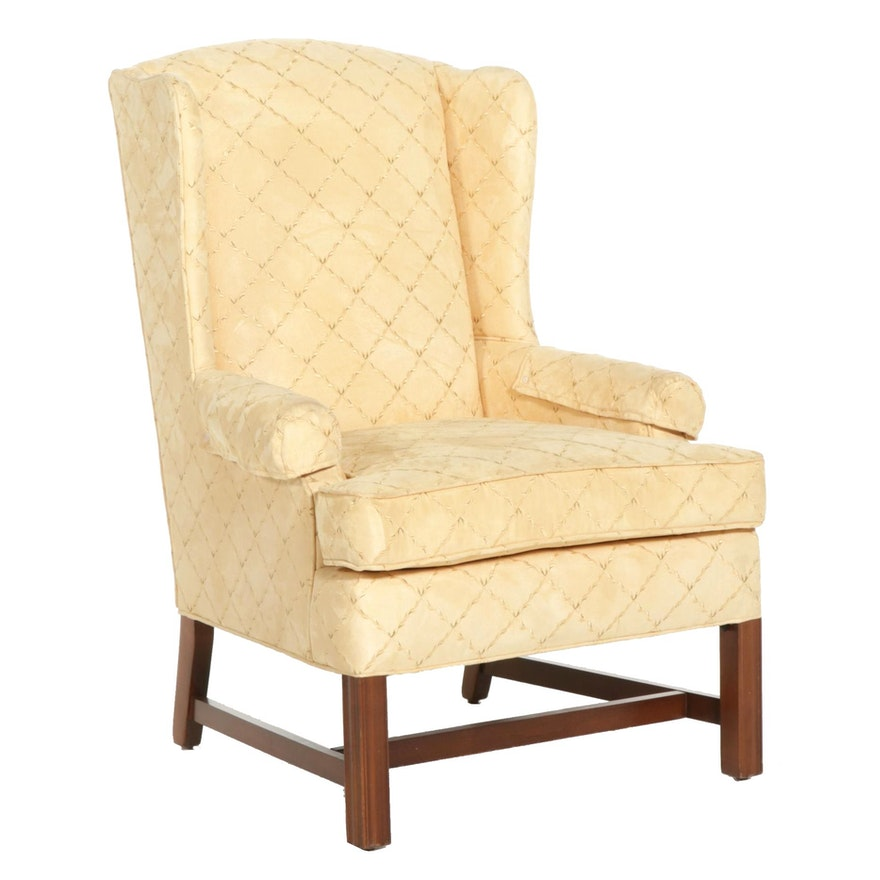 Hallagan Chippendale Style Custom-Upholstered Ultrasuede Wingback Chair