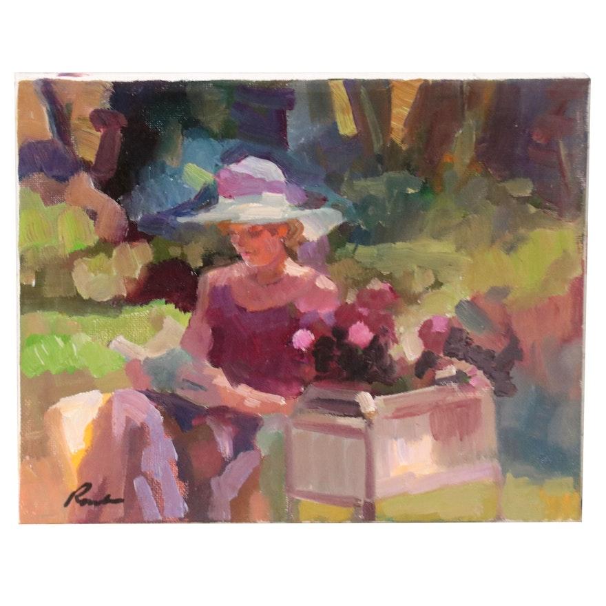 Sally Rosenbaum Oil Painting of Woman in Hat, 21st Century