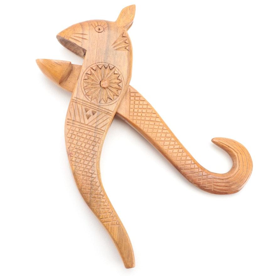 Scandinavian Style Folk Art Carved Wooden Nutcracker, Mid to Late 20th Century