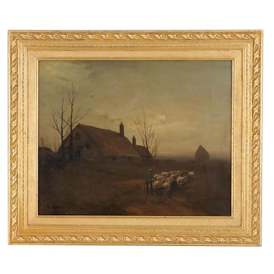 Pastoral European Countryside Landscape Oil Painting, circa 1900