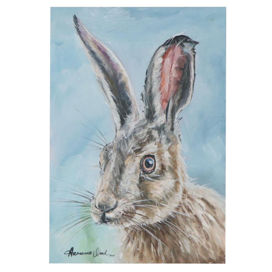 Armando Wood Oil Painting of Rabbit, 2021