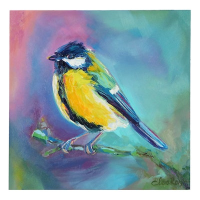 Elena Ray Oil Painting of Yellow Breasted Blue Tit, 2021