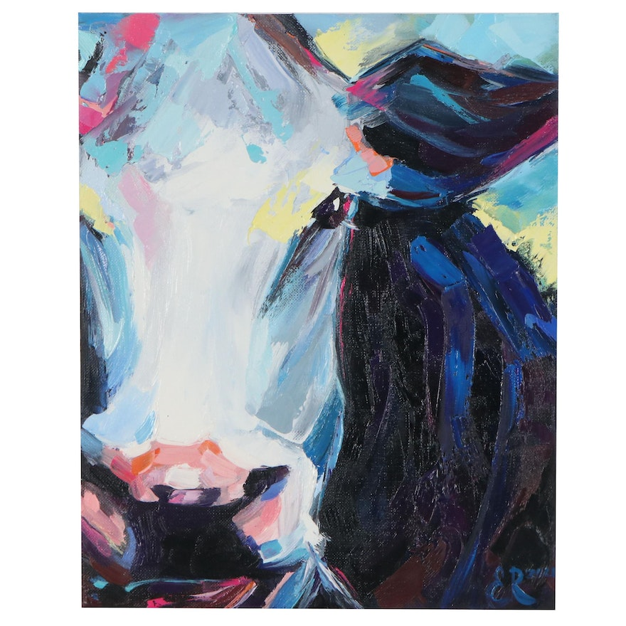 Elena Ray Oil Painting of Black and White Cow, 2021