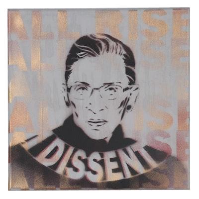 Mr. Mahaffey Stenciled Spray Painting of Ruth Bader Ginsburg, 21st Century