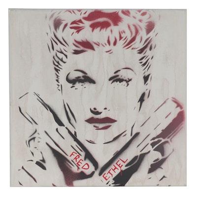 "Mr. Mahaffey Acrylic Spray Painting ""Fred Ethel,"" 2021"