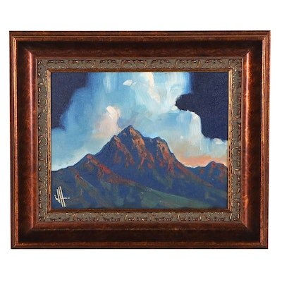 William Hawkins Landscape Oil Painting of Mountain, 21st Century
