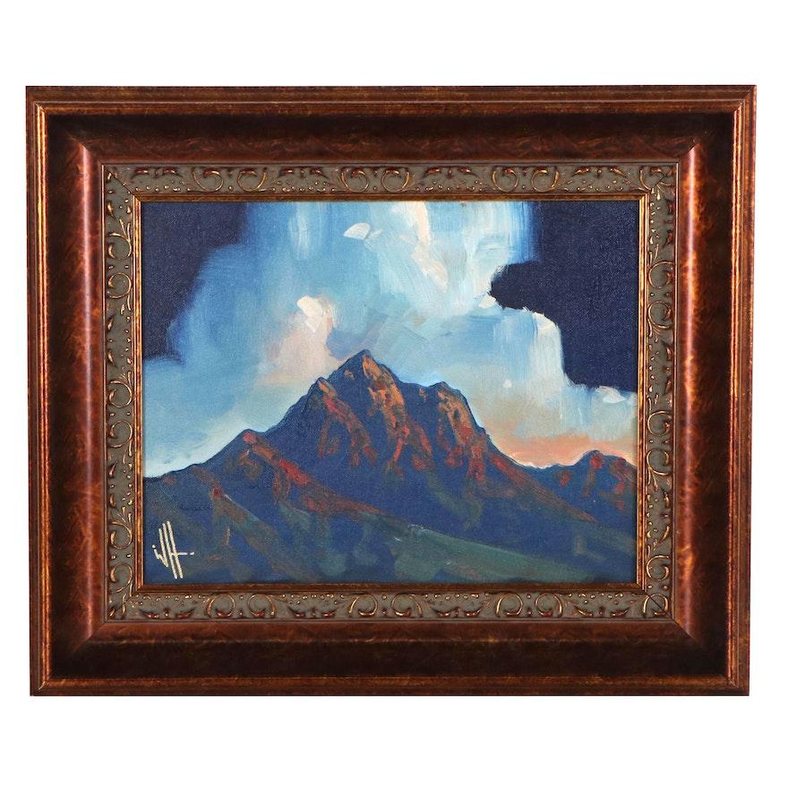 William Hawkins Landscape Oil Painting of Mountain, 21st Century
