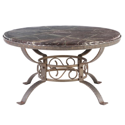 Wrought Iron and Variegated Marble Coffee Table