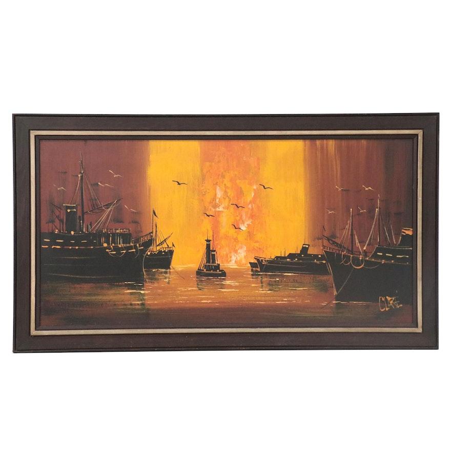 Mixed Media Painting of Ships at Sea, Late 20th Century