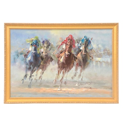 Anthony Vecchio Oil Painting of Horse Race, Late 20th-21st Century