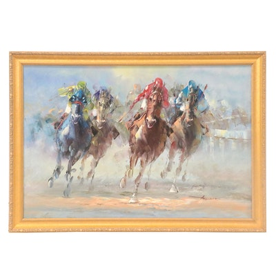 Anthony Veccio Oil Painting of Horse Race, Late 20th-21st Century