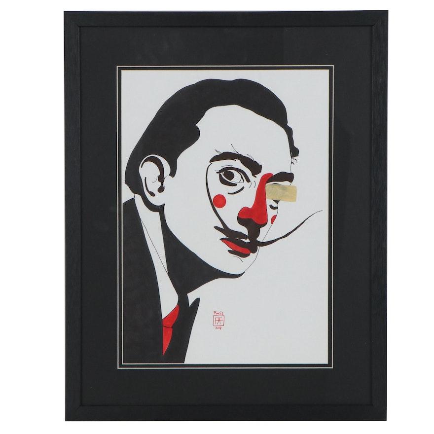 Francois Aguiard Mixed Media Drawing of Salvador Dalí, 2018